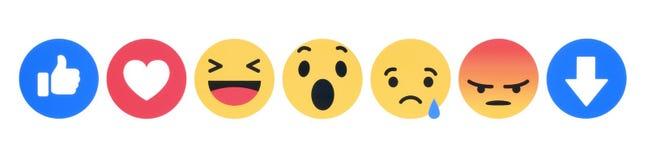 Neues Facebook wie Knopf 7 einfühlsame Emoji-Reaktionen stock abbildung