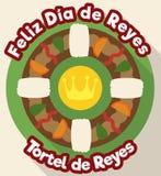 Neues gebackenes Spanisch Tortell für Offenbarung in der flachen Art, Vektor-Illustration Stockbild