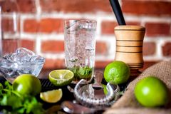Neues gemachtes tadelloses mojito Cocktailgetränk mit Bestandteilen an der Bar Lizenzfreie Stockfotos