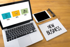 NEUES GESCHÄFT beginnen neue Anfang-Lösung für Ziele Ihr Lif Lizenzfreie Stockfotografie