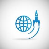 Neues Geschäfts-Projekt-Startsymbol-Rocket Space Ship-Produkteinführung Ikonen-Design-Schablone auf Grey Background Vector Illust Lizenzfreie Stockfotografie