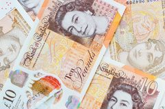 Neues Großbritannien zehn Pfund-Anmerkungen Stockbild