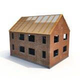 Neues Haus, das mit Ziegelsteinen auf Weiß errichtet wird Abbildung 3D Lizenzfreie Stockfotos