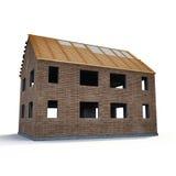 Neues Haus, das mit Ziegelsteinen auf Weiß errichtet wird Abbildung 3D Stockfotografie