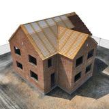 Neues Haus, das mit Ziegelsteinen auf Weiß errichtet wird Winkel von oben Abbildung 3D Stockfotografie