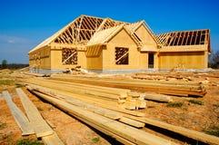 Neues Haus im Bau Stockfotos