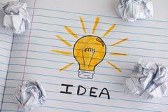 Neues Ideenkonzept Zeichnung einer Glühlampe mit Wort Idee auf Anmerkung Stockbilder