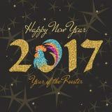 Neues 2017-jähriges des Hahns Stock Abbildung