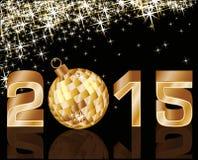 Neues 2015-jähriges mit goldenem Weihnachtsball Lizenzfreie Stockfotografie