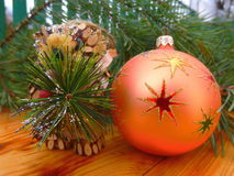 Neues Jahr Ökologische, hölzerne Weihnachtsdekorationen weinlese antiken Stockbilder