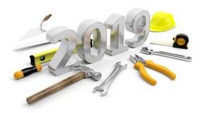 Neues Jahr 2019 Übergeben Sie Werkzeuge und nummerieren Sie 2019 auf weißem Hintergrund Abbildung 3D Lizenzfreie Stockfotografie
