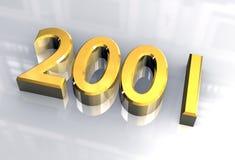 Neues Jahr 2001 im Gold (3D) Stockbilder