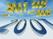 Neues Jahr 2007 fliegen vorbei Stockbild