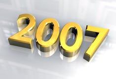 Neues Jahr 2007 im Gold (3D) Stockfoto