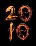 Neues Jahr 2010 in den Sparklers Stockbild