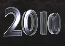 Neues Jahr 2010 im Glas (3D) Stockbilder