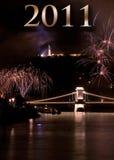 Neues Jahr 2011 an den Feuerwerken Lizenzfreie Stockfotos