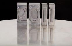 Neues Jahr 2011 im lettepress Typen Stockbild
