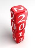 Neues Jahr 2012 3d ragen rote und weiße Würfel hoch Stockfoto
