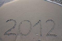 Neues Jahr 2012 auf dem Strand Lizenzfreies Stockfoto