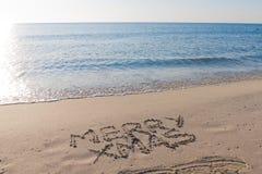 Neues Jahr 2012 auf dem Strand Stockfoto