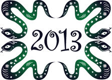 Neues Jahr 2013. Schlangenjahr. lizenzfreie abbildung
