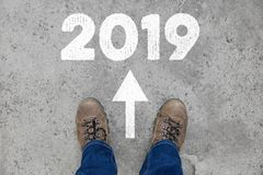 Neues Jahr 2019 als Richtung Stockfoto