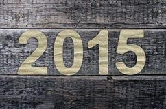 Neues Jahr 2015, alter hölzerner Hintergrund Stockbilder