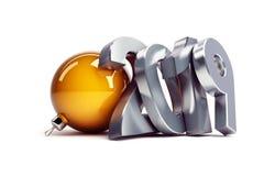 Neues Jahr 2019 auf einer weißen Illustration des Hintergrundes 3D, Wiedergabe 3D lizenzfreie abbildung