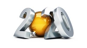 Neues Jahr 2020 auf einer weißen Illustration des Hintergrundes 3D, Wiedergabe 3D stockfoto