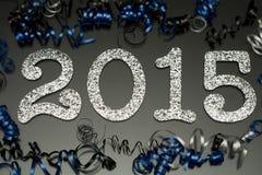 Neues Jahr 2015 auf Schwarzem mit Konfettis und Champagner lizenzfreie abbildung