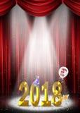 Neues Jahr 2018 auf Stadium im Scheinwerfer Lizenzfreies Stockbild
