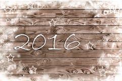 Neues Jahr 2016 auf Weinleseplanke Stockfotos