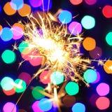 Neues Jahr Bengal-Lichter 2016 in Form von Sternen Stockfotografie