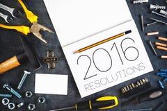 2016, neues Jahr-Beschlüsse-Handwerker Workshop Concept Lizenzfreie Stockbilder