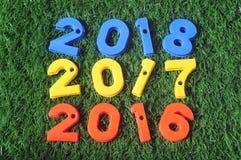 Neues Jahr 2016, bunte Idee der Nr. 2017 und 2018 Stockfotografie