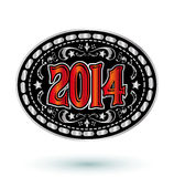 neues Jahr 2014 Cowboy-Gürtelschnalledesign Lizenzfreies Stockbild