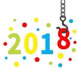 2018 neues Jahr Crane Hook Bunter runder Punkt Schablone für Grußkarte, Kalender, Darstellung, Flieger, Broschüre, Postkarte und  Lizenzfreie Stockfotos