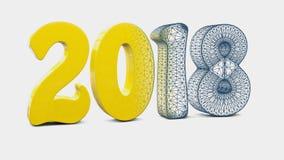 Neues Jahr 2018 3d Lizenzfreie Stockfotos