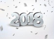Neues Jahr 2018 3d versilbern Zahlhintergrund mit Konfettis 2018 Feiertagsfeierkarten-Silberkonfettis auf Weiß Stockfotos