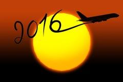 Neues Jahr 2016, das mit dem Flugzeug zeichnet Stockbild
