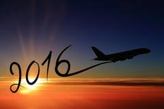Neues Jahr 2016, das mit dem Flugzeug zeichnet Stockfotografie