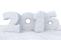 Neues Jahr-Datum 2016 machte vom Schnee auf Schneeoberfläche Stockfoto