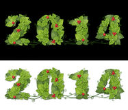 Neues Jahr 2014. Datum zeichnete grüne Blätter mit Tropfen des Taus und des Rotes Stockfotografie