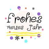 Neues Jahr de Frohes Salutation allemande de bonne année Art typographique noir de vecteur illustration stock