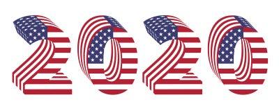 2020 neues Jahr der amerikanischen Flagge der Zahlen 3d Stockbild