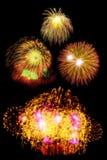 neues Jahr der Feuerwerke feiern - schönen bunten Feuerwerkssatz Lizenzfreies Stockfoto