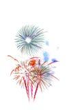 neues Jahr 2017 der Feuerwerke - schönes buntes Feuerwerk lokalisiert Stockbilder