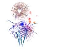 neues Jahr 2017 der Feuerwerke - schönes buntes Feuerwerk lokalisiert Lizenzfreie Stockbilder