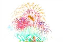 neues Jahr 2017 der Feuerwerke - schönes buntes Feuerwerk lokalisiert Lizenzfreies Stockfoto